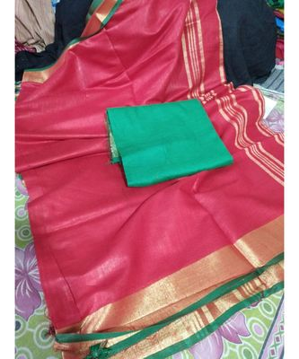 red woven cotton handloom sarees with blouse