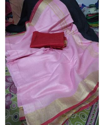 Pink Woven Cotton Handloom Sarees With Blouse