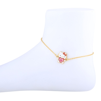 Antique Gold Plated Pretty Doll Pandent Shape Anklet For Women Girl