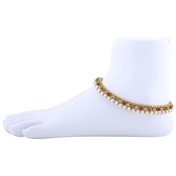 Gold plated designer Multi Color Anklet for Women And Girl