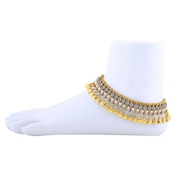 Golden Ethnic Ghungroo Kundan Alloy Anklet For Girl And Women