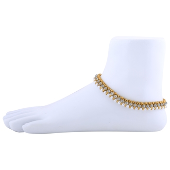 Gold plated White Diamond Anklet for Women And Girl