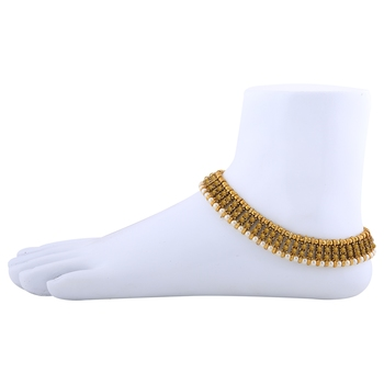 Gold plated designer pearl Diamond Anklet for Women And Girl