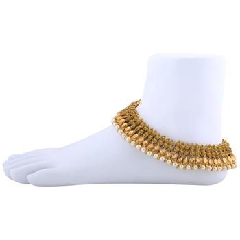 Charms Golden  Antique Kundan Anklet For Women And Girl.