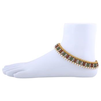Gold plated Traditional Multi Color Anklet for Women And Girl