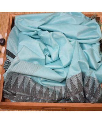 Turquoise Hand Woven Poly Silk Handloom Sarees
