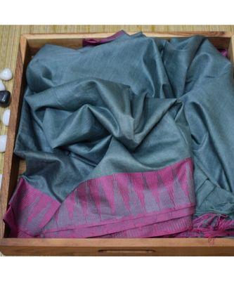 grey hand woven poly silk handloom sarees
