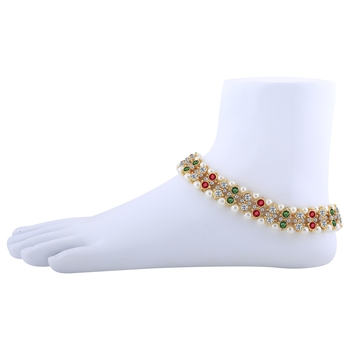 Gold Plated Attractive Designer Multi Color Kundan Anklet For Women And Girl