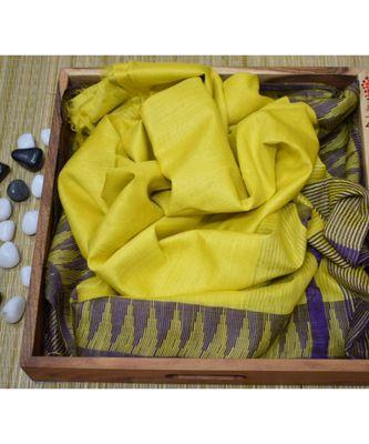 yellow hand woven poly silk handloom sarees