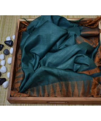 Dark Green Hand Woven Poly Silk Handloom Sarees