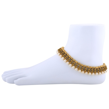 Antique Golden Kundan Anklet for Women And Girl