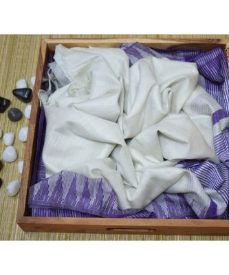 Wight Hand Woven Poly Silk Handloom Sarees