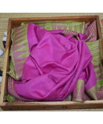 pink hand woven poly silk handloom sarees