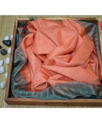 Light Orange Hand Woven Poly Silk Handloom Sarees