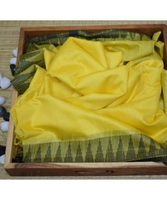 Yellow Hand Woven Poly Silk Handloom Sarees