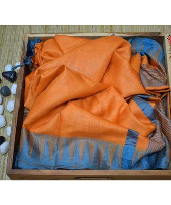 orange hand woven poly silk handloom sarees