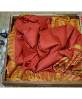 Orange Hand Woven Poly Silk Handloom Sarees