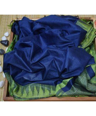 navy blue hand woven poly silk handloom sarees