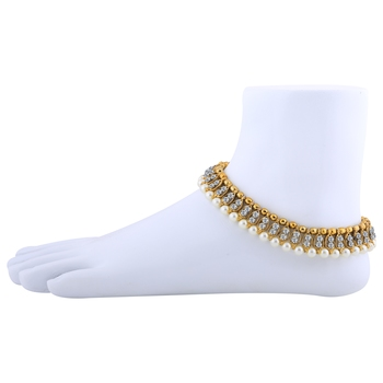Antique Golden White Diamond And Pearl Anklet For Women And Girl.