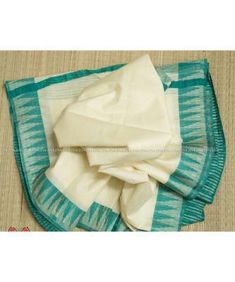 Cream Hand Woven Poly Silk Handloom Sarees