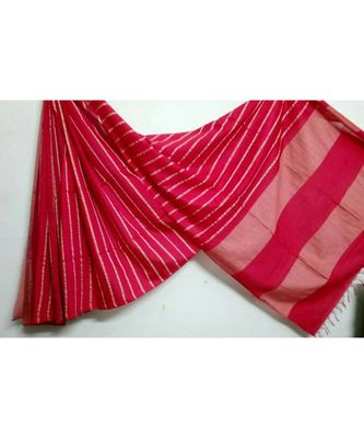 Red Hand Woven Poly Silk Handloom Sarees
