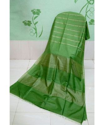 green hand woven poly silk handloom sarees