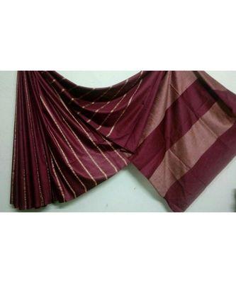 brown  hand woven poly silk handloom sarees