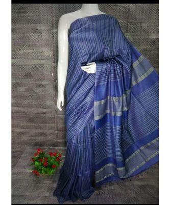 Blue Hand Woven Poly Silk Handloom Sarees