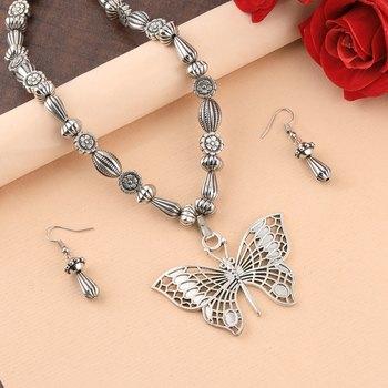 Silver Oxidised Designer Butterfly Pandent Fancy Mala For Women Girl