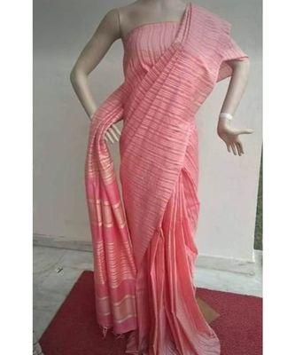 Peach Hand Woven Poly Silk Handloom Sarees