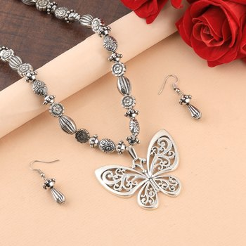 Silver Oxidised Designer Butterfly Pandent Stylish Mala For Women Girl