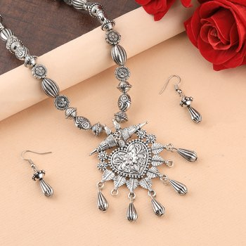 Silver Oxidised Party Wear Heart Shape Pandent Stylish Mala for women girl