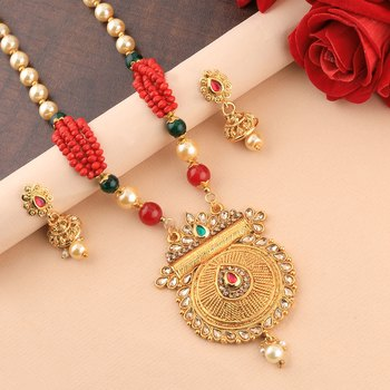 Traditional Gold Plated Pearl Mala Pandent Set For Women Girl