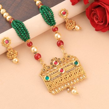 Party Wear Gold Plated Pearl Mala Pandent set For Women Girl