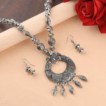 Elegant Oxidised Pendant Designer Mala Set Jewellery For Women Girl