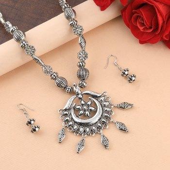 Charm Silver Oxidised Pendant Designer Mala Set Jewellery For Women Girl