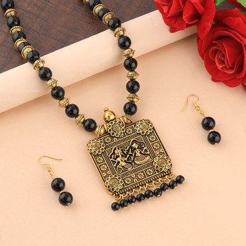 Gold Oxidised Square Pendant Black Pearl Mala Set For Women Girl