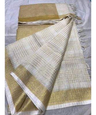 White Woven Linen Handloom Saree With Blouses