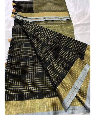 black woven linen handloom saree with blouses