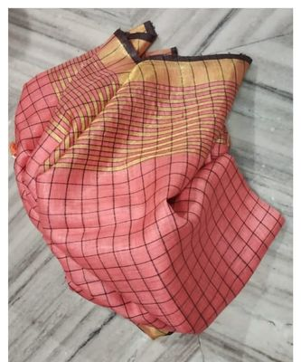 peach woven linen handloom saree with blouses