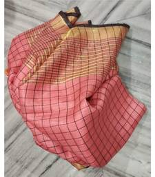 peach woven linen handloom saree with blouses