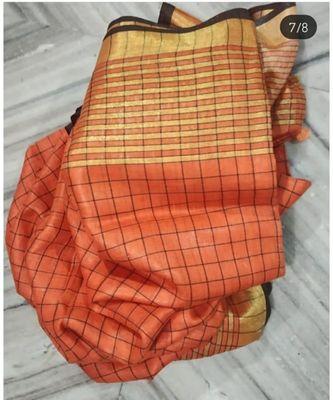 orange woven linen handloom saree with blouses