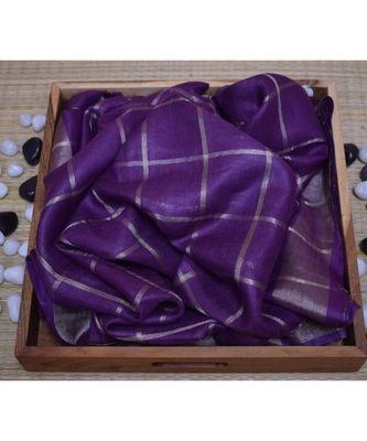 Purple Woven Linen Handloom Saree With Blouses