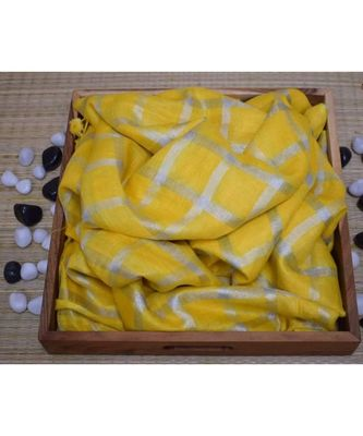 Yellow Woven Linen Handloom Saree With Blouses