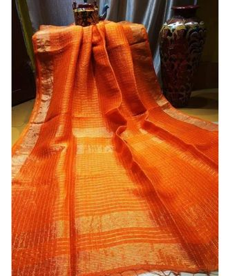 Orange Woven Linen Handloom Saree With Blouses