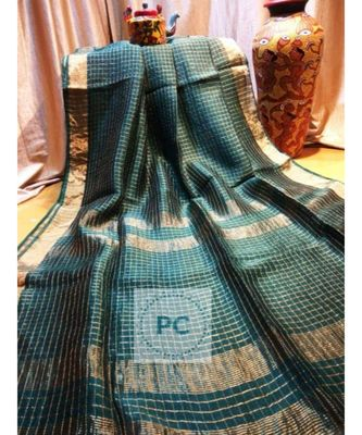 green woven linen handloom saree with blouses