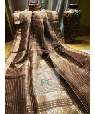 brown woven linen handloom saree with blouses