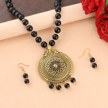 Ethic Designer Gold Oxidised Pendant Black Pearl mala set for Women girl