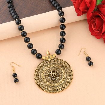 Designer Gold Oxidised Traditional Big Pendant Black Pearl mala set for Women girl