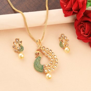 Charm Party Wear gold Plated Peacock Designer Pandent For Women Girl